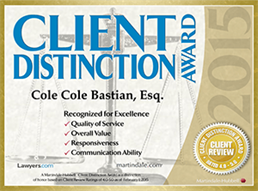 Client Distinction Award 2015 - Cole Cole Bastian, Esq.